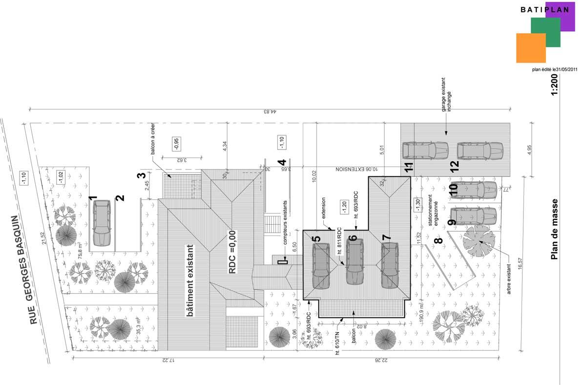 Plans et permis de construire exemple d 39 un plan de masse for Cout d un permis de construire