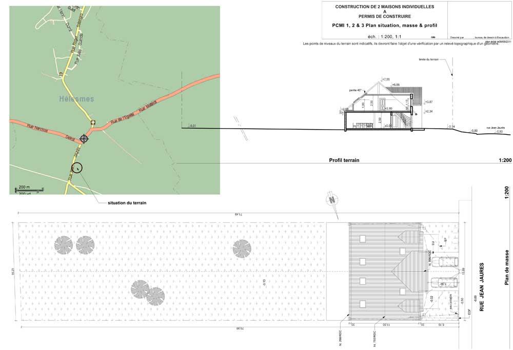 Plans et permis de construire un exemple n 2 de permis de construire - Exemple plan de masse ...