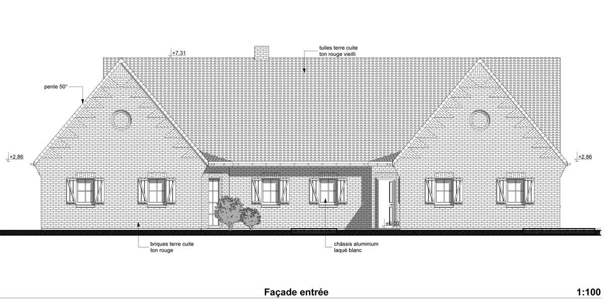 Plans et permis de construire exemple d 39 un plan d 39 une for Plan facade maison