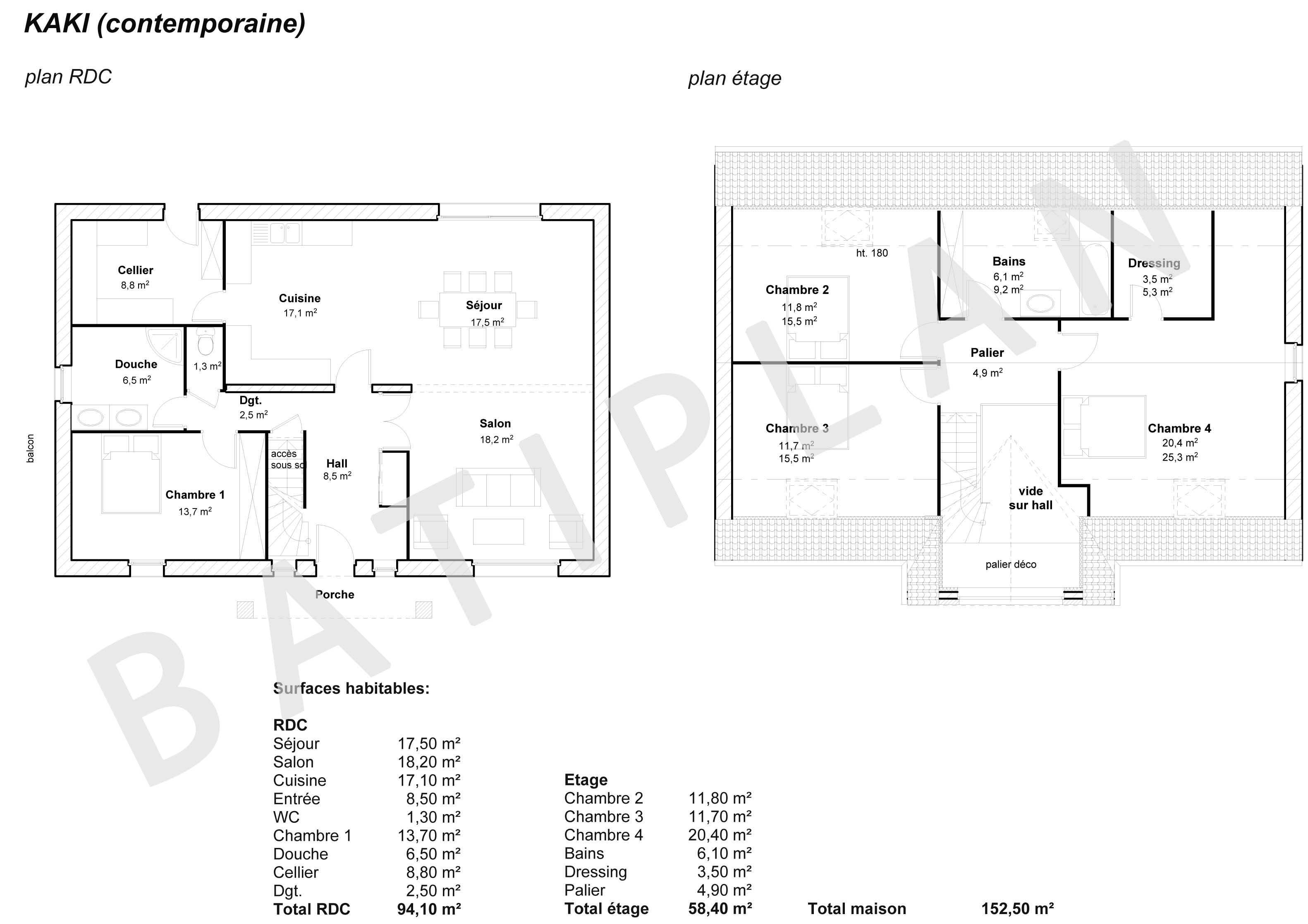 Perfect Plan De Maison Kaki Contemporaine