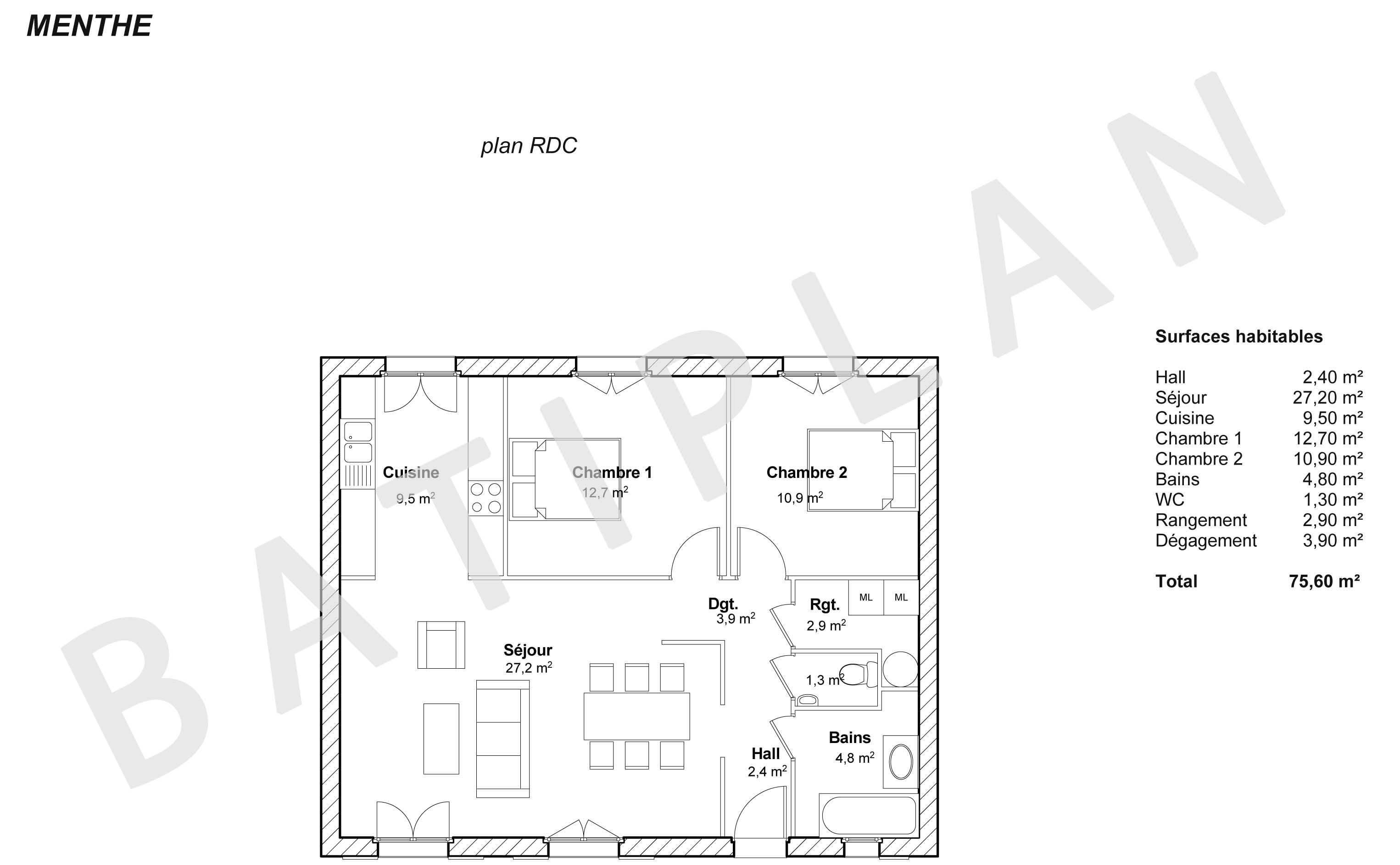 plans et permis de construire notre plan de maison menthe. Black Bedroom Furniture Sets. Home Design Ideas