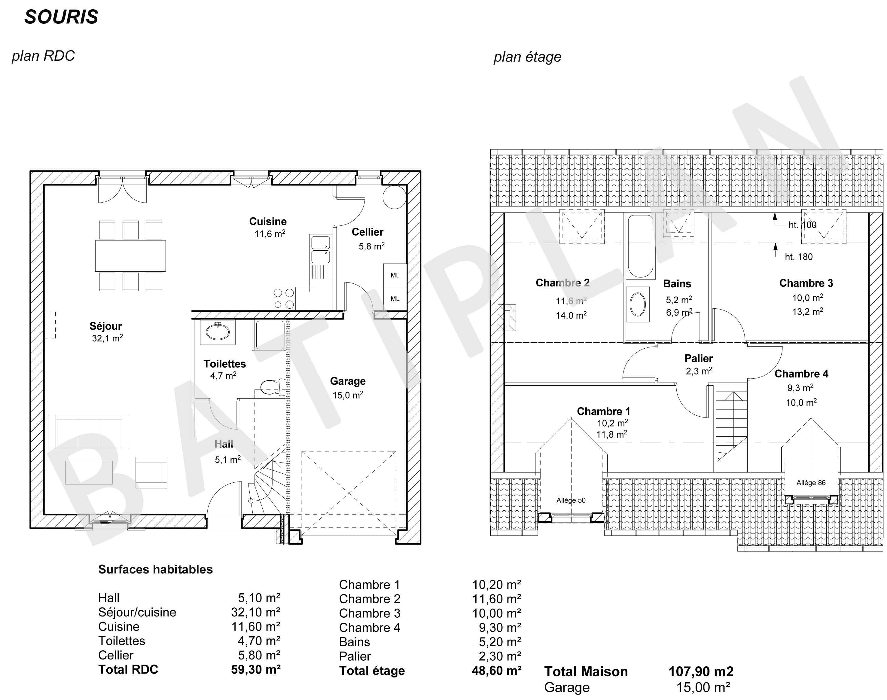 Plans et permis de construire notre plan de maison souris for Plan de maison a construire
