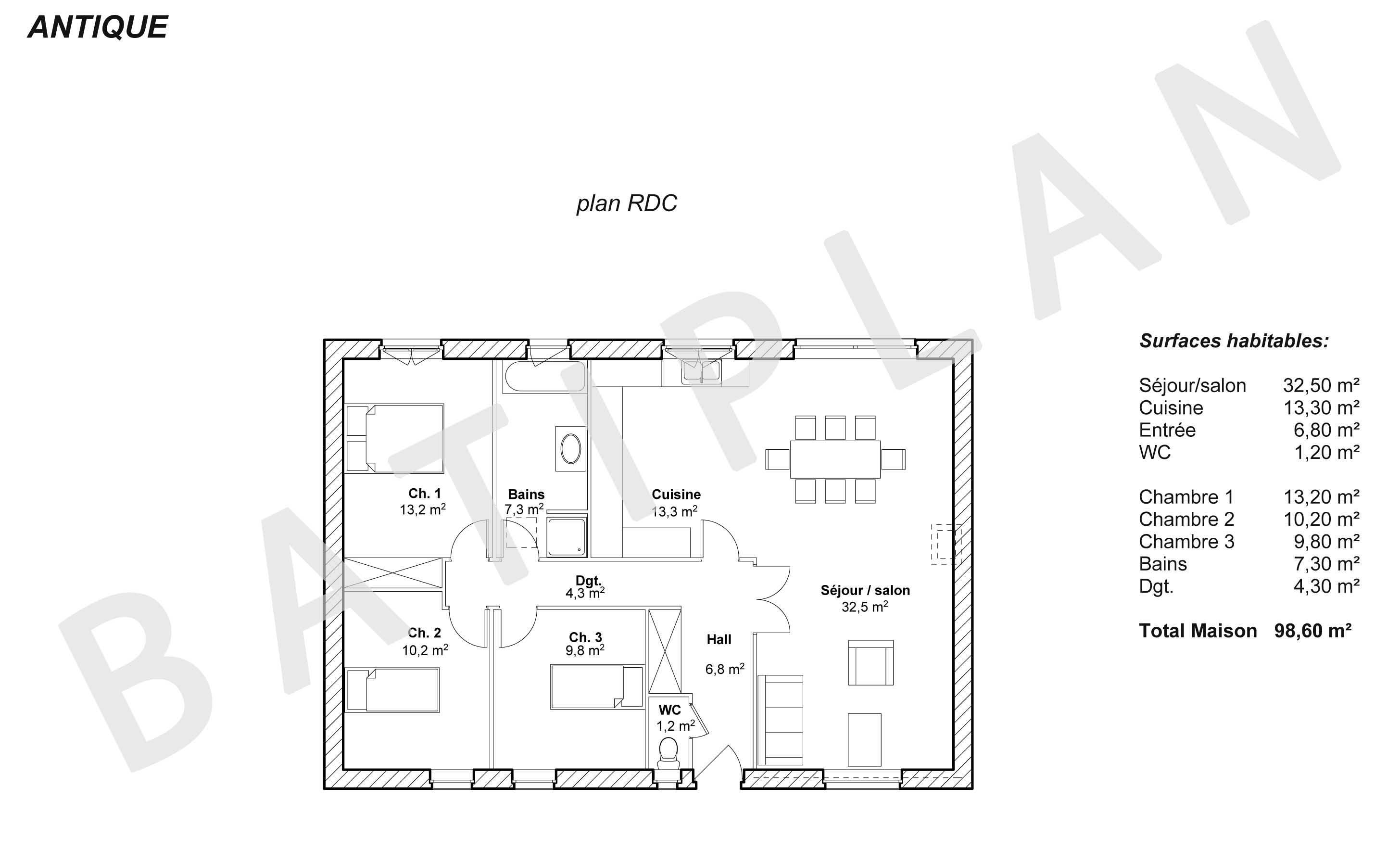 Plans et permis de construire notre plan de maison antique for Modele de maison a construire gratuit