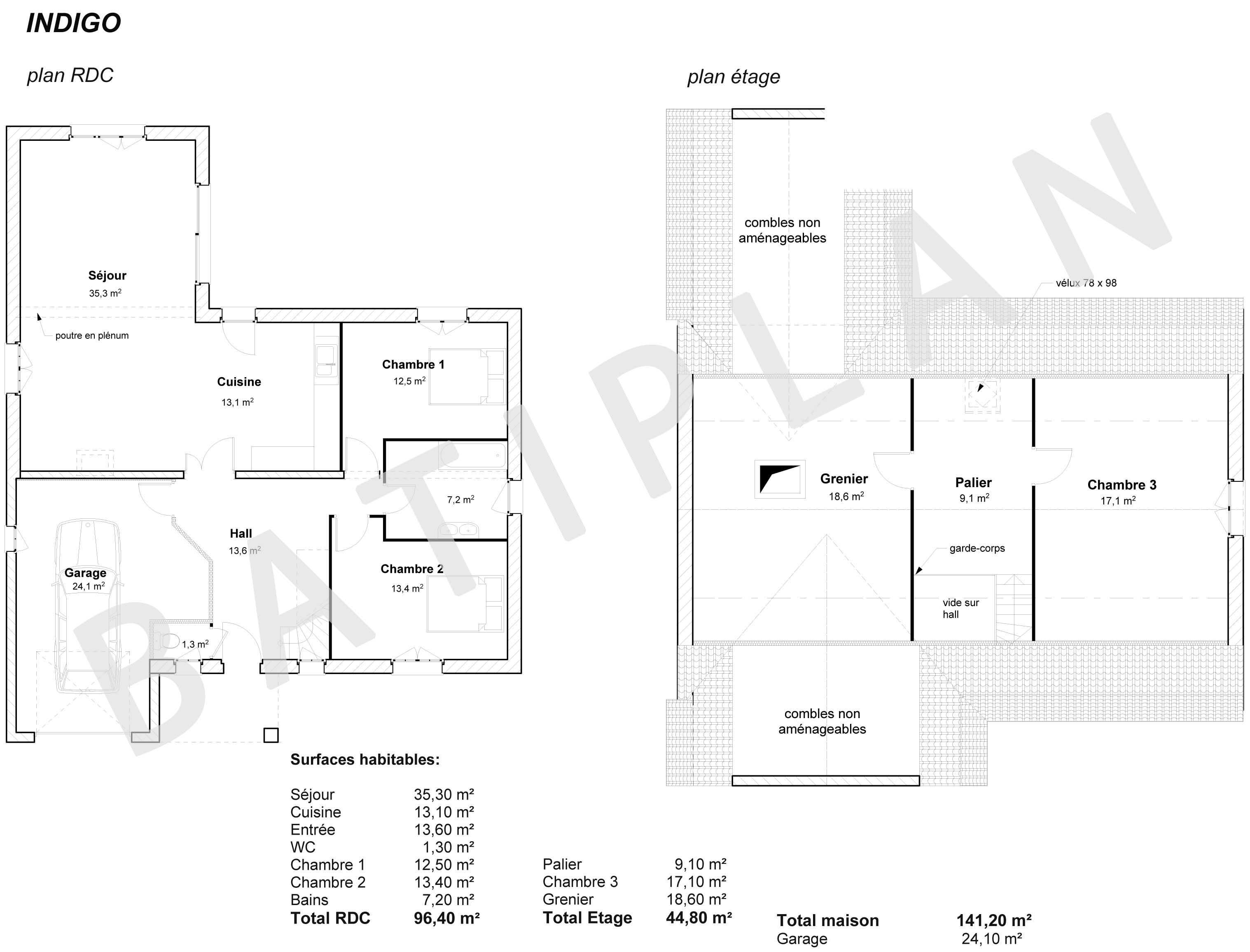 Plans et permis de construire notre plan de maison indigo for Plan maison permis de construire