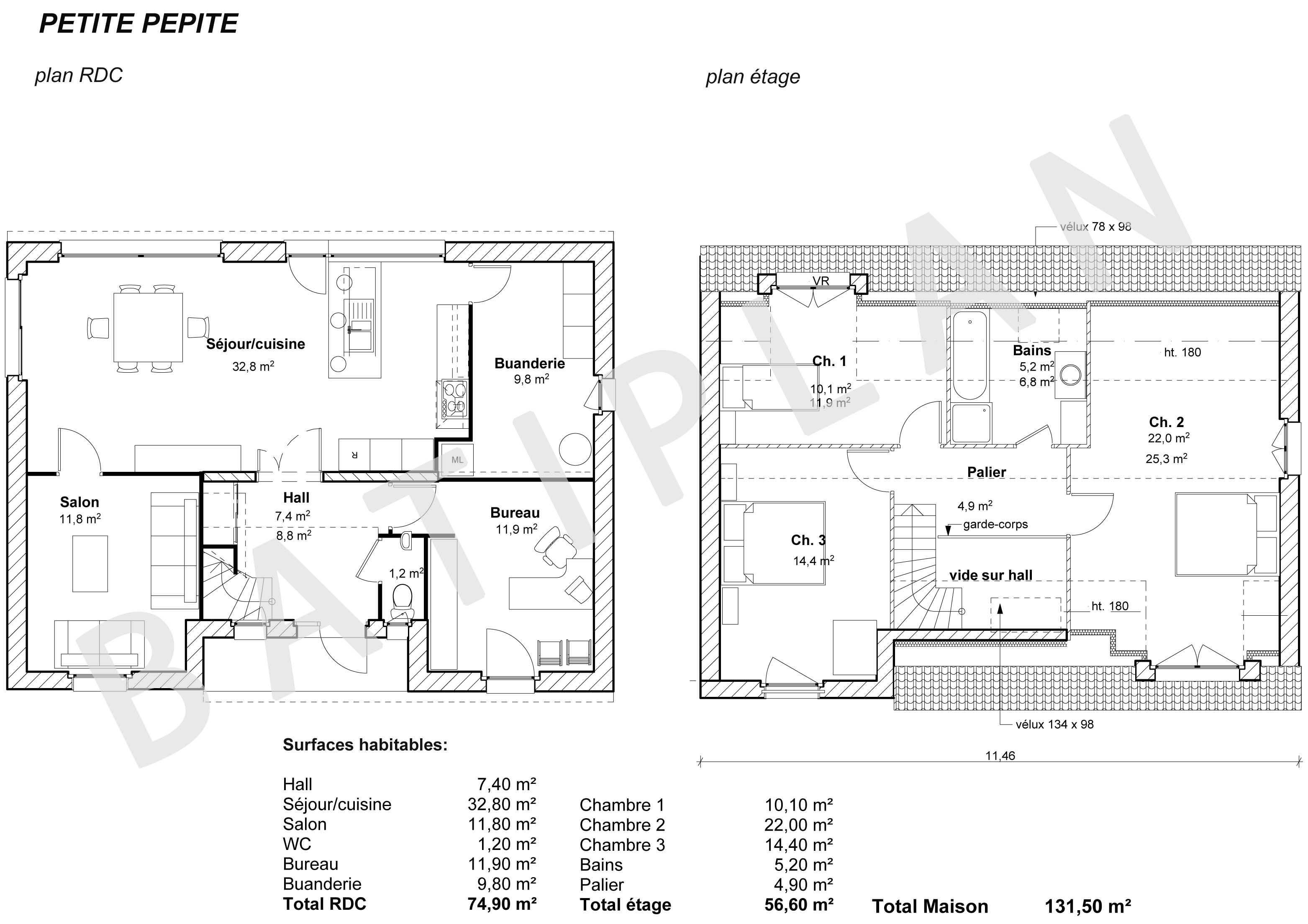 Plans et permis de construire notre plan de maison petite pepite - Plan de coupe de maison ...