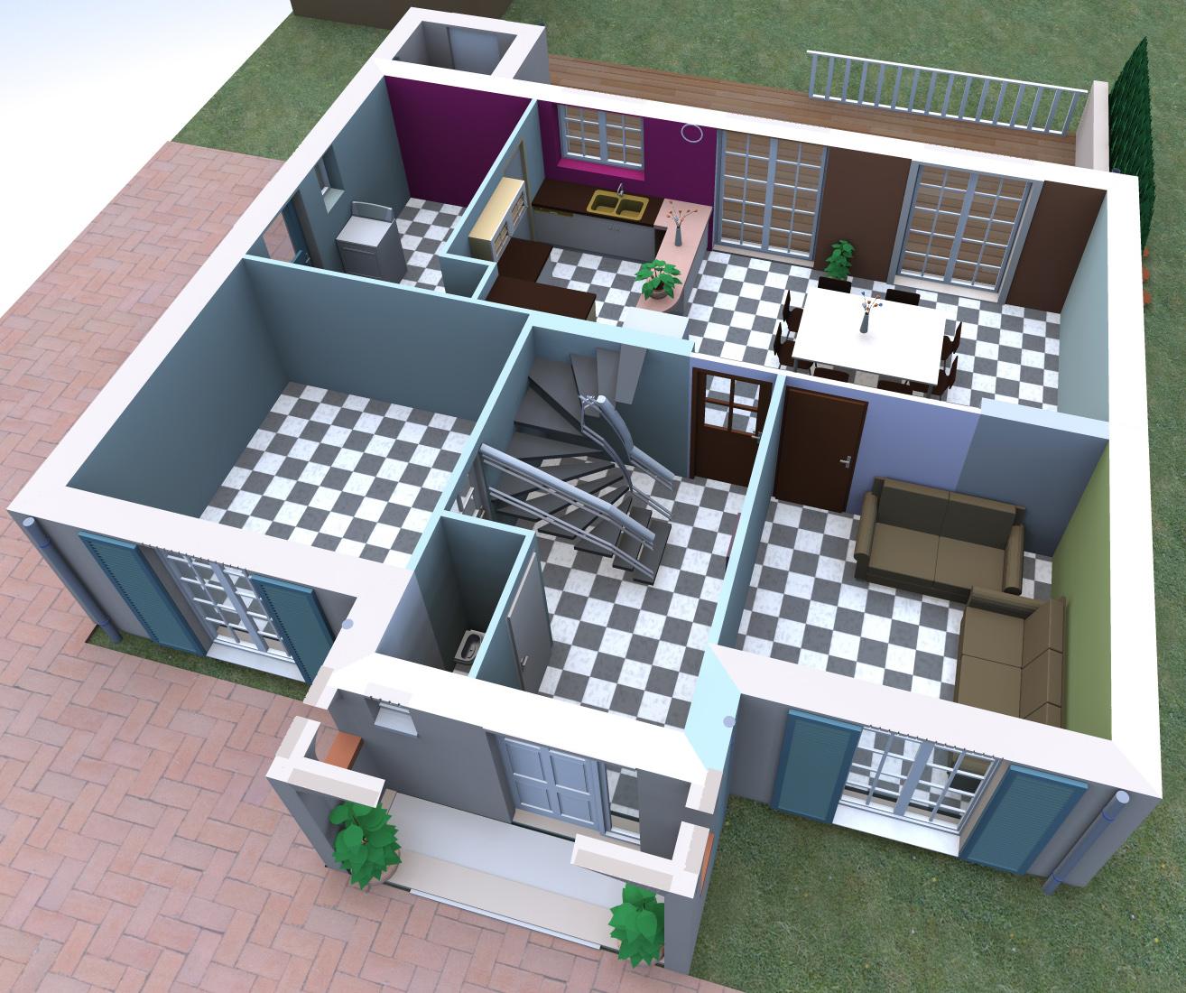 coupe maison, plan maison contemporaine