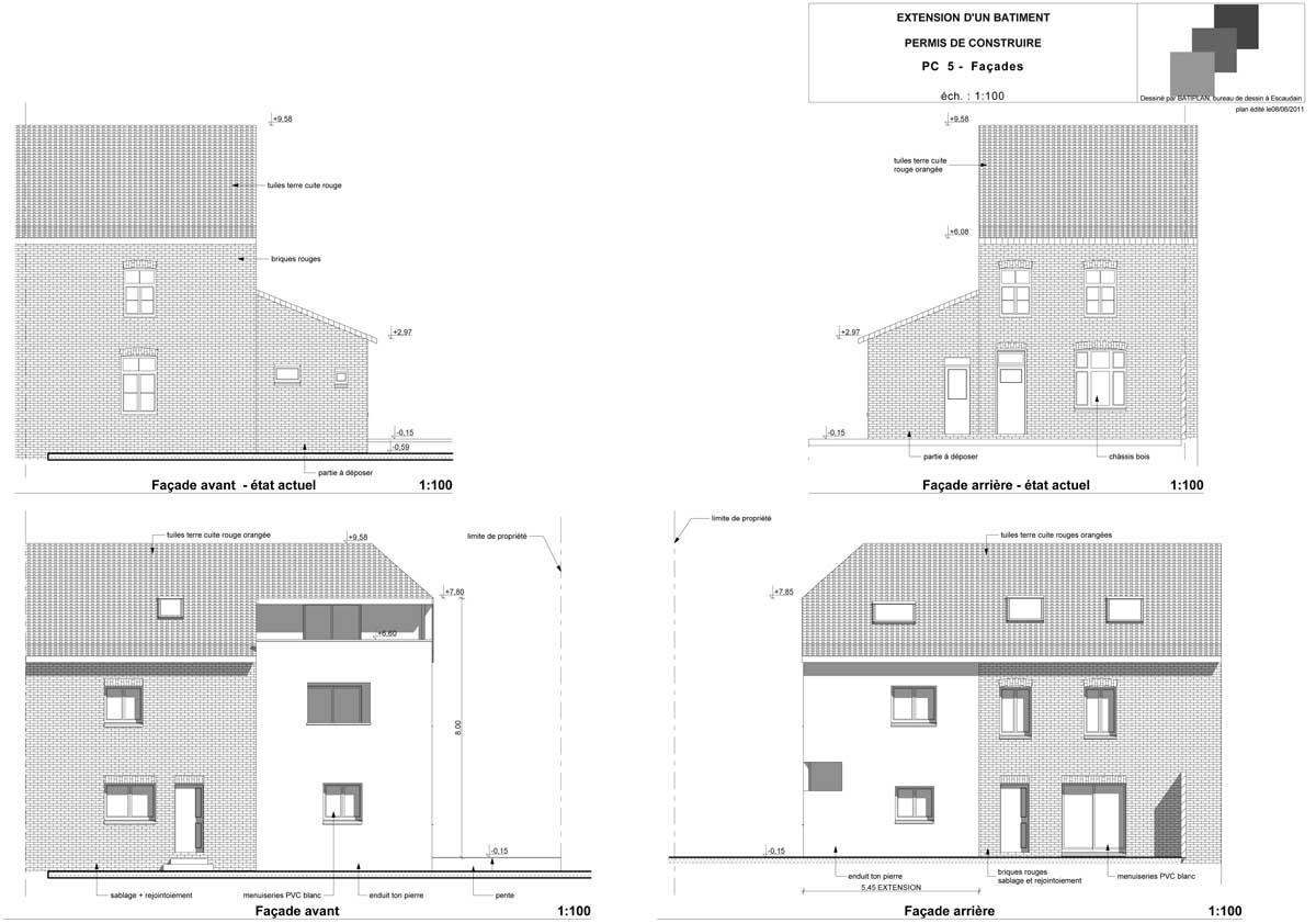 Plans et permis de construire exemple d 39 un plan d 39 extension maison - Plan d agrandissement de maison ...