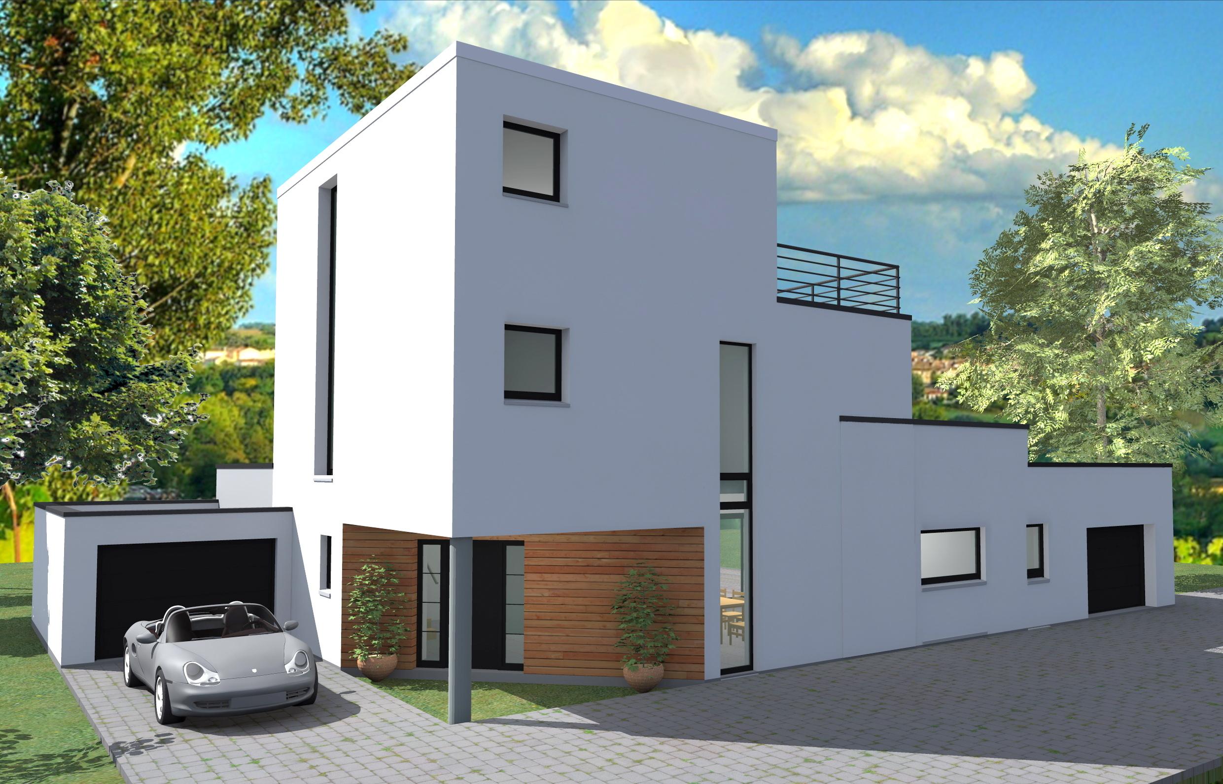 plan de maison maison cube tages. Black Bedroom Furniture Sets. Home Design Ideas