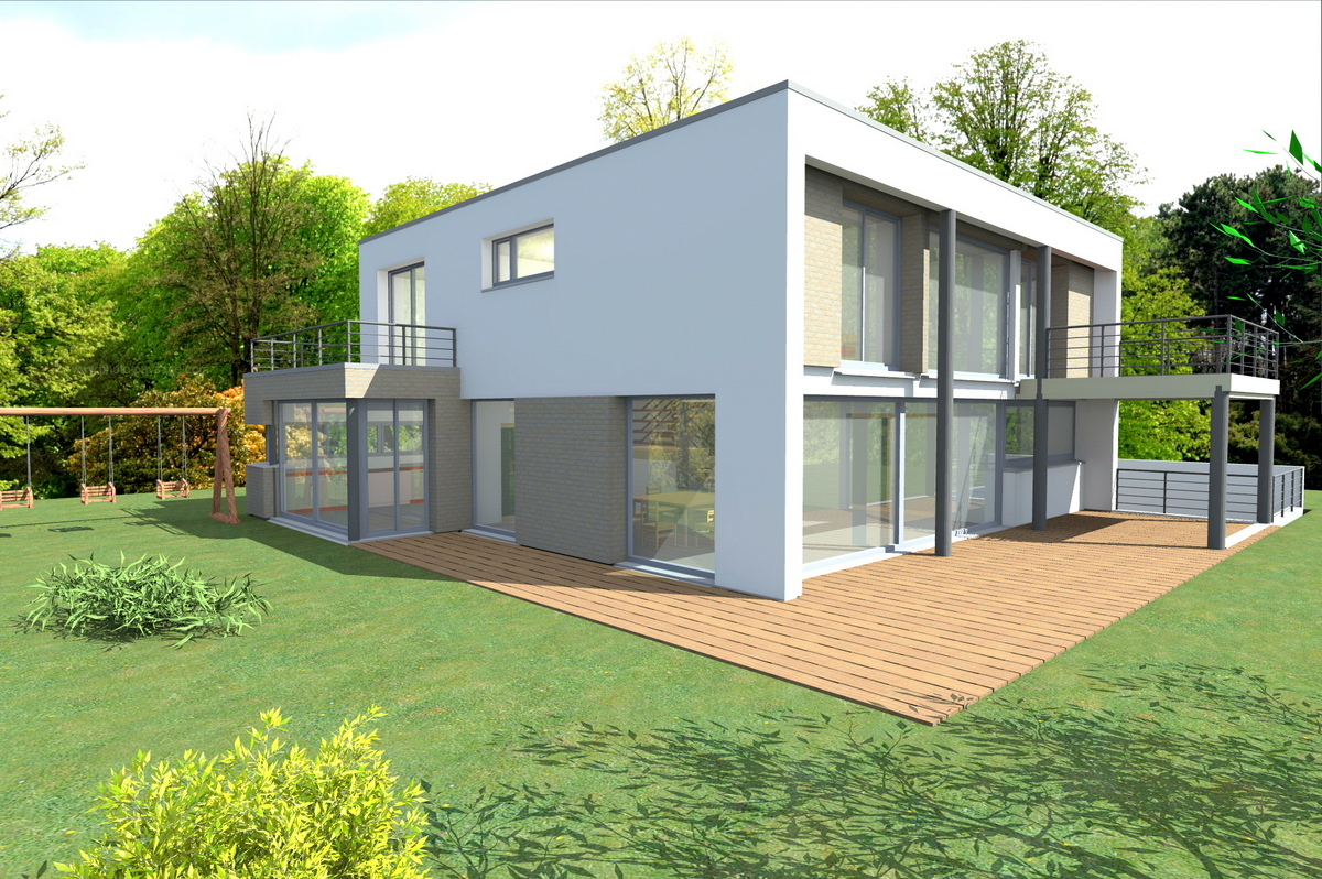Maison contemporaine avec sous sol for Plan maison cubique