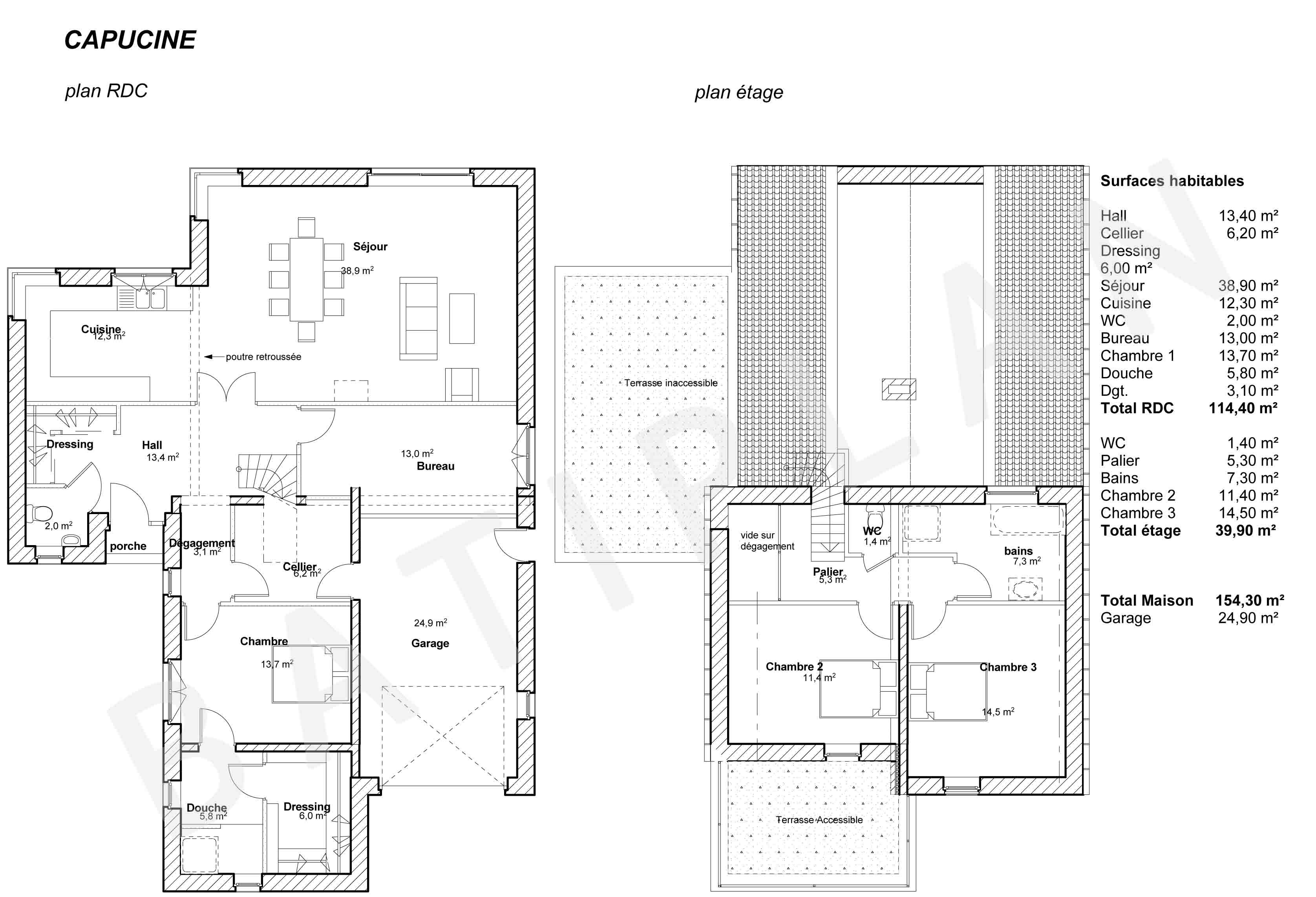 Latest plan maison capucine with plan maison moderne 5 for Plan maison 5 chambres