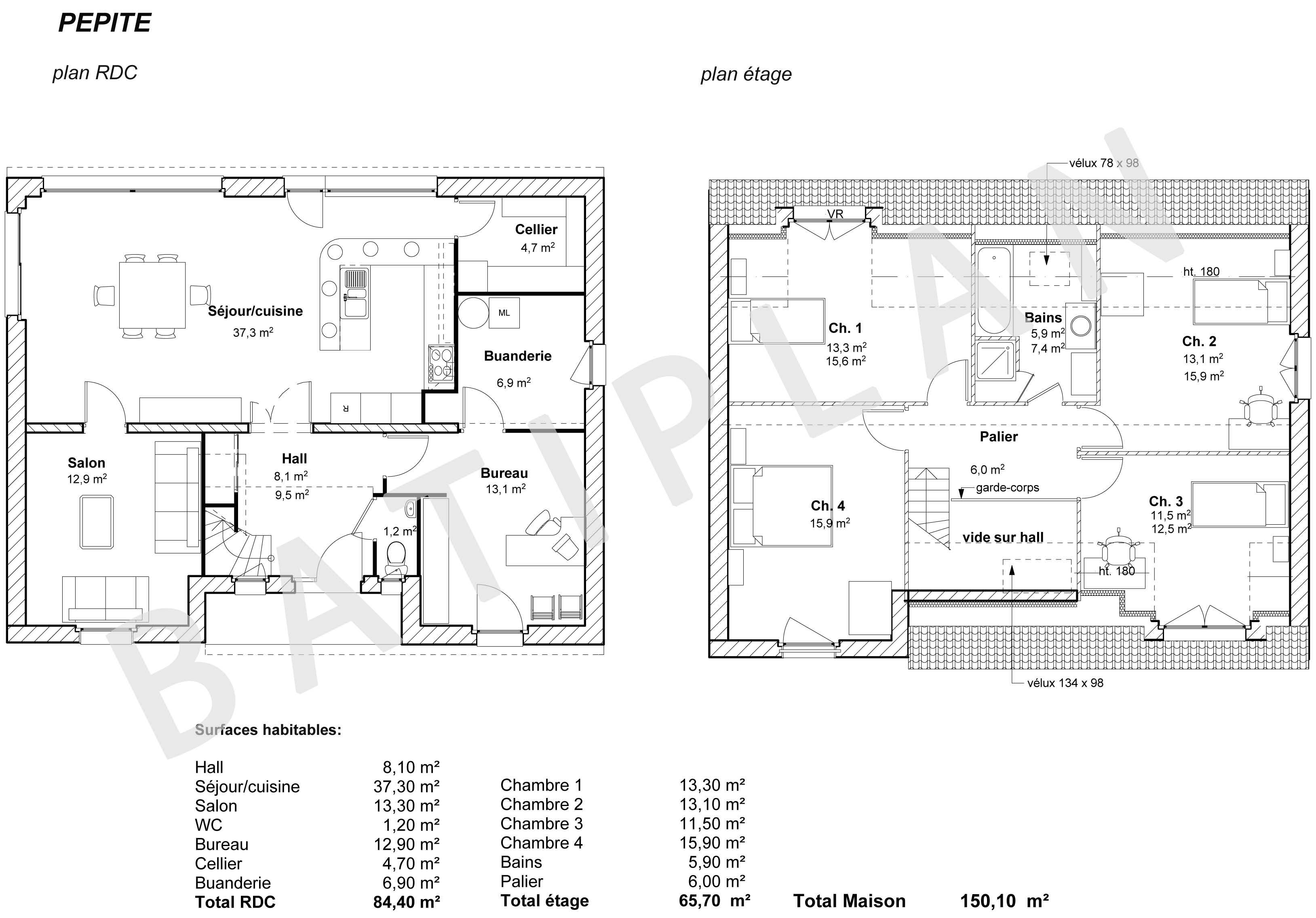 Exemple permis de construire maison plan de coupe pcmi3 for Plan maison coupe